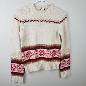 J. Crew Creme & Red Snowflake Holiday Sweater S